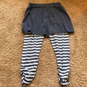 Pants - grey skirt with striped leggings